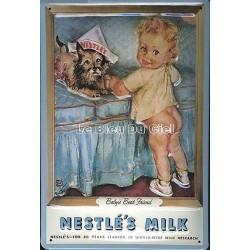 Plaque métal publicitaire 20x30 cm bombée en relief : NESTLÉ'S MILK
