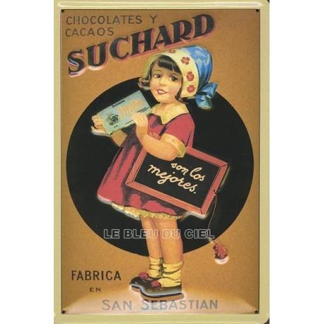 Plaque métal publicitaire 20x30 cm bombée en relief : CHOCOLAT SUCHARD