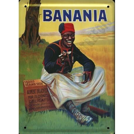 Plaque métal publicitaire 30 x 40 cm bombée  :  BANANIA TIRAILLEUR
