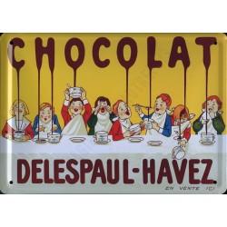 Plaque métal publicitaire 30x40cm bombée : Chocolat Delespaul-Havez.