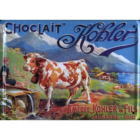 Plaque métal publicitaire 30x40cm bombée : Chocolat Kohler