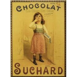 Plaque métal  publicitaire 30x40cm plate :   FILLE  CHOCOLAT SUCHARD
