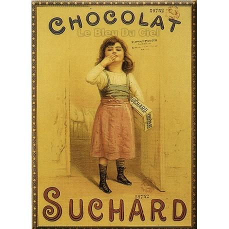 Plaque métal publicitaire 30x40cm plate : FILLE CHOCOLAT SUCHARD.