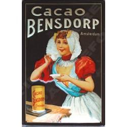 Plaque métal publicitaire 20x30cm bombée en relief : Cacao Bensdorp