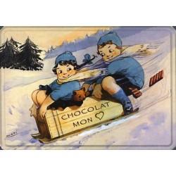 Plaque métal publicitaire 30x40cm bombée: CHOCOLAT MON COEUR.