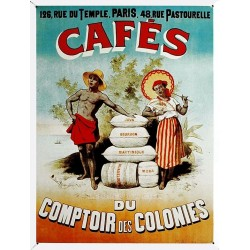 Plaque métal publicitaire 20x30cm bombée en relief : Café du comptoir des colonies.