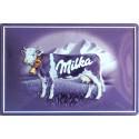 Plaque métal publicitaire bombée, relief 20x30cm Chocolat MILKA.