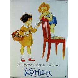 Plaque métal  publicitaire 30x40cm :  CHOCOLAT KOHLER