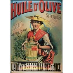 Plaque métal publicitaire 15x21cm bombée : Huile d'olive de Nice