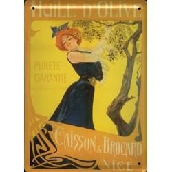 Plaque métal publicitaire 15x21cm : huile d'olive Caisson et Brocard