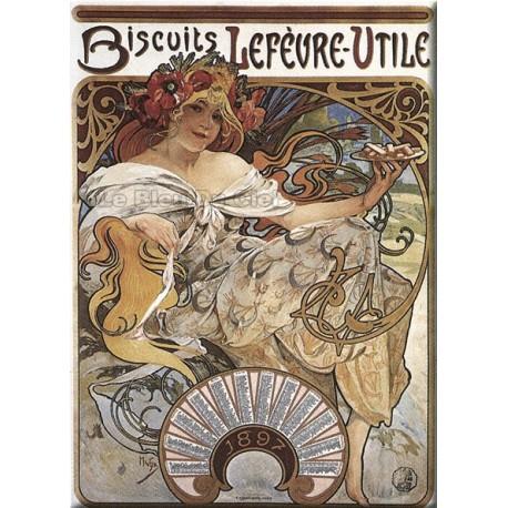 Plaque métal publicitaire 15x21cm bombée : Biscuiterie Lefèvre Utile.