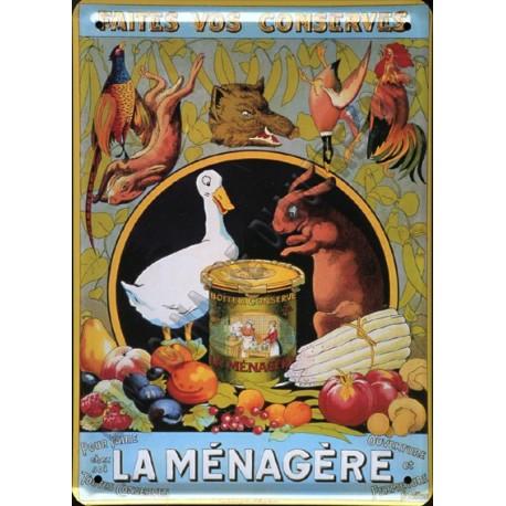 Plaque métal publicitaire 15x21cm bombée : La bonne Ménagère.