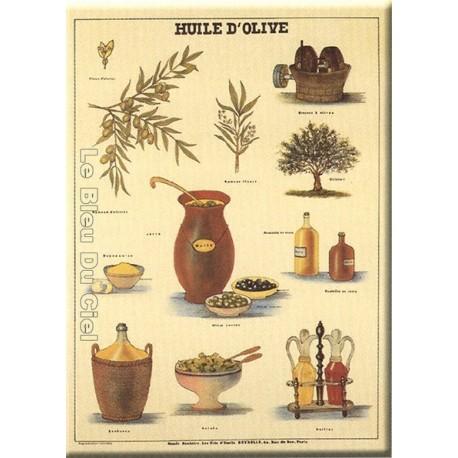 Plaque métal publicitaire 15x21cm bombée : Huile d'Olive.