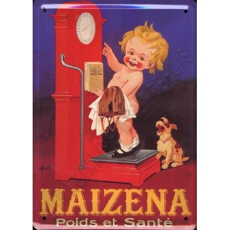 Plaque métal publicitaire 15x21cm bombée : Maizéna bascule by Auzolle