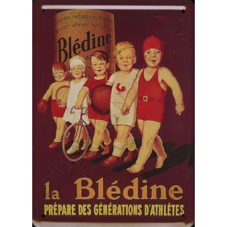 Plaque métal publicitaire bombée 15x21cm : Blédine prépare les athlètes