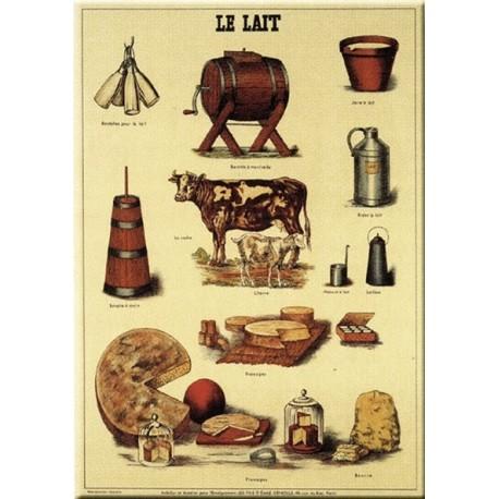 Plaque métal publicitaire 15x21cm bombée : LE LAIT.