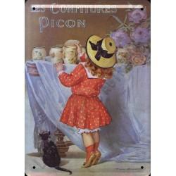 Plaque métal publicitaire 15x21cm plate :  Les Confitures Picon.