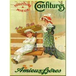 Plaque métal publicitaire 15x20cm plate :  Confitures AMIEUX-FRERES