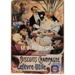 Plaque métal publicitaire 15x21cm bombée : Biscuits Champagne Lefèvre Utile.