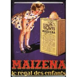 Plaque métal publicitaire 15x21cm bombée : MAIZENA le régal des enfants