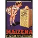 Plaque métal publicitaire 15x21cm : plate : MAIZENA le régal des enfants.