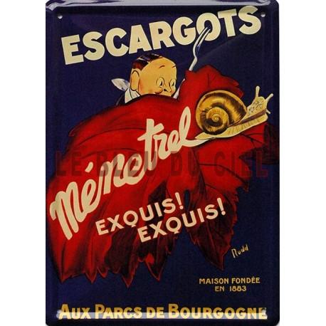 Plaque métal publicitaire 15x21cm plate : Escargots de bourgogne Ménetrel.