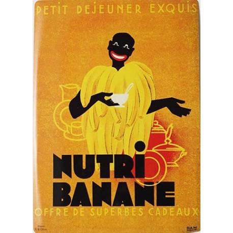 Plaque métal publicitaire 15x21cm bombée : Nutri Banane.