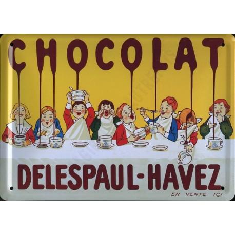 Plaque métal publicitaire 15x21cm bombée : Chocolat Delespaul Havez