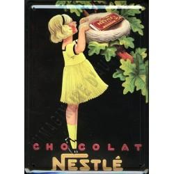 Plaque métal publicitaire 15x21cm bombée : Chocolat NESTLÉ