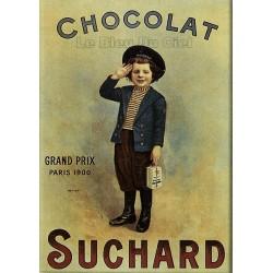 Plaque métal publicitaire 15x21cm bombée : Chocolat Suchard garçon