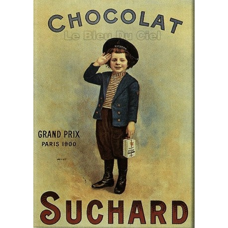 Plaque métal publicitaire 15x21cm bombée : Chocolat Suchard garçon.