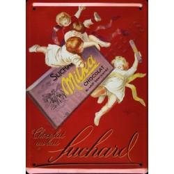 Plaque métal publicitaire bombée 15x21cm : Chocolat au Lait Suchard Milka