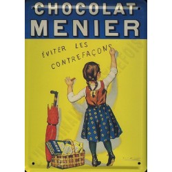 Plaque métal publicitaire 15x21cm bombée :  Chocolat fille MENIER.