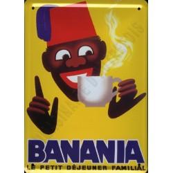 Plaque métal  publicitaire 15x21cm bombée : Chocolat Banania Morvan