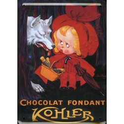 Plaque métal publicitaire 15x21cm bombée : Chocolat Kohler Chaperon Rouge.