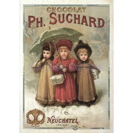 Plaque métal publicitaire 15x21cm bombée : Chocolat Suchard 3 filles.
