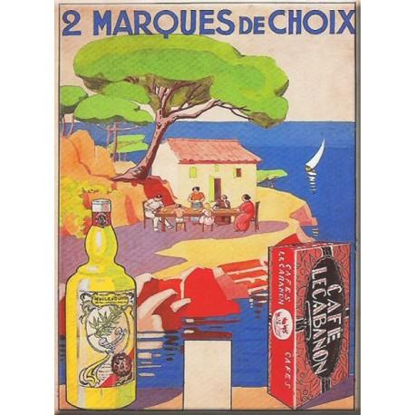 Plaque métal publicitaire 15x21cm bombée :   Café Cabanon