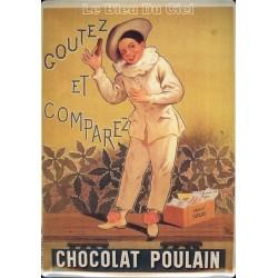 Plaque métal publicitaire 15x21cm bombée : Chocolat Poulain