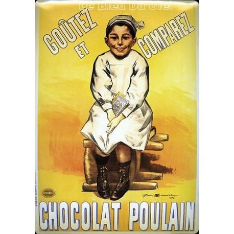 Plaque métal publicitaire 15x20cm plate : Chocolat Poulain