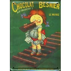Plaque métal publicitaire 15 x 21 cm bombée : CHOCOLAT BESNIER