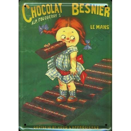 Plaque métal publicitaire 15 x 21 cm plate : CHOCOLAT BESNIER