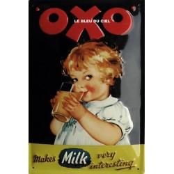 Plaque métal publicitaire 20x30cm bombée en relief :  OXO boisson chocolatée.