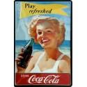 plaque métal publicitaire 20x30cm bombée en relief : Coca Cola Play Refresh.