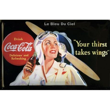 Plaque métal publicitaire 20 x 30 cm bombée relief : Coca Cola aviatrice.