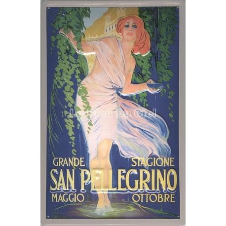 Plaque métal  publicitaire 20x30cm bombée en relief :  San Pellegrino.