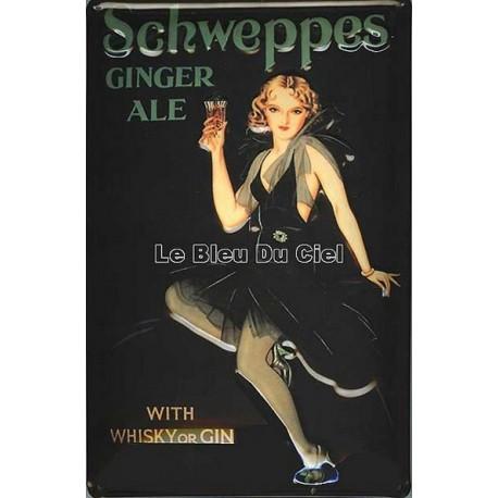 plaque publicitaire bombée en relief  Schweppes Ginger Ale