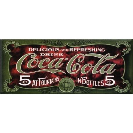 plaque métal publicitaire 22 x 40 cm plate : COCA-COLA.