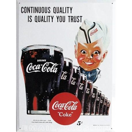 Plaque métal publicitaire 30x40cm plate  :  Coca Cola garçon de café.