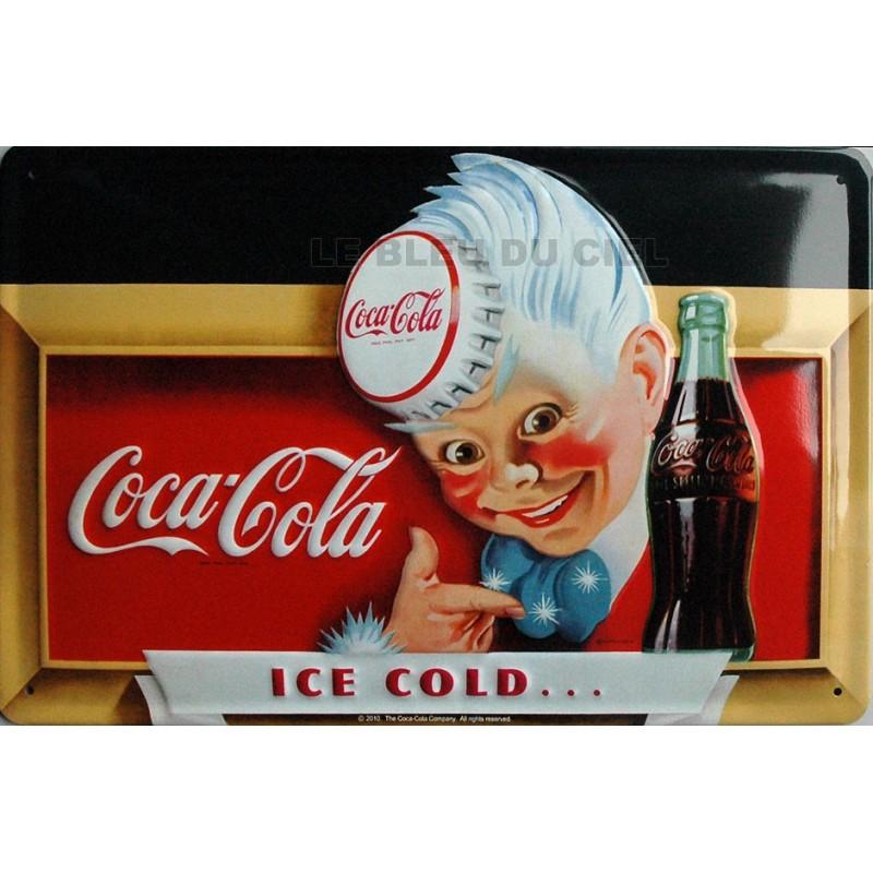 plaque m tal publicitaire 20x30cm bombe en relief gar on coca cola. Black Bedroom Furniture Sets. Home Design Ideas