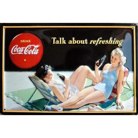 Plaque métal publicitaire 20x30cm bombée en relief : Coca Cola